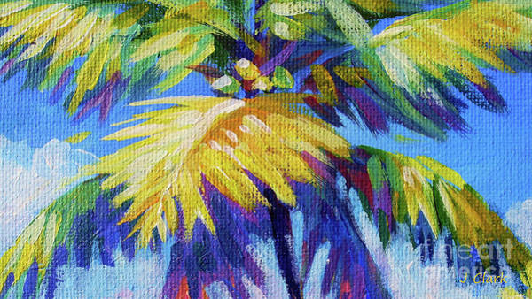 Wall Art - Painting - Bright Palm 16x9 by John Clark