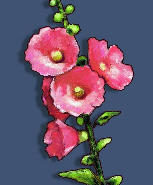 Wall Art - Pastel - Bright Pink Hollyhocks by Joyce Geleynse