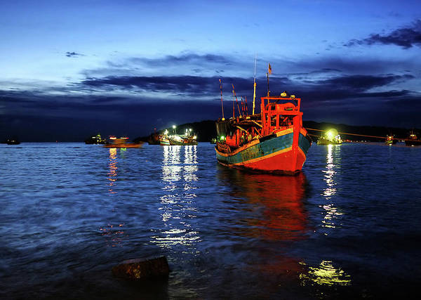 Fishing Boat Photograph - Bright Red Fishing Boat At The Blue Hour by L. Toshio Kishiyama