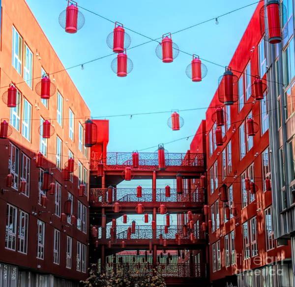 Wall Art - Photograph - Bright Red Orange Lanterns Chinatown  by Chuck Kuhn