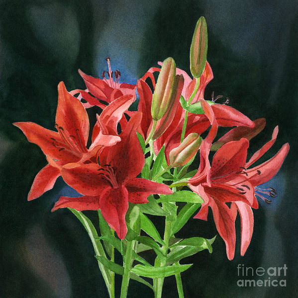 Bronze Painting - Bright Red Orange Lilies With Dark Background by Sharon Freeman