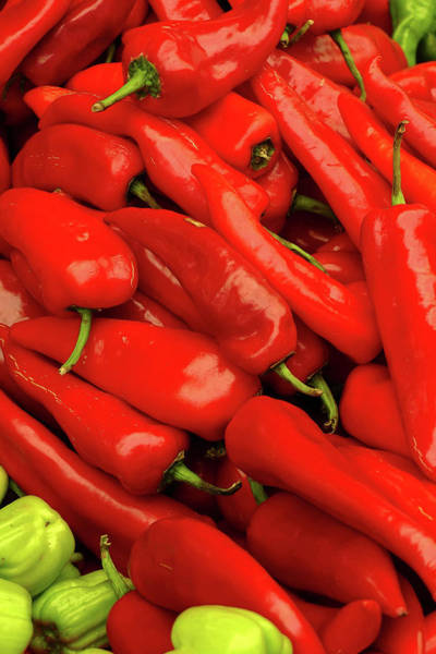 Photograph - Bright Red Peppers In The Central Market  by Steve Estvanik