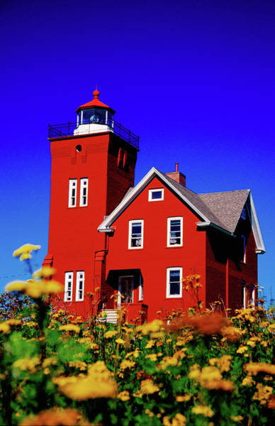 Lake Superior Photograph - Bright Red Two Harbors Lighthouse With by Richard  Cummins
