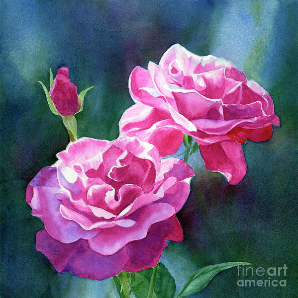 Wall Art - Painting - Bright Red Violet Roses With Dark Background by Sharon Freeman