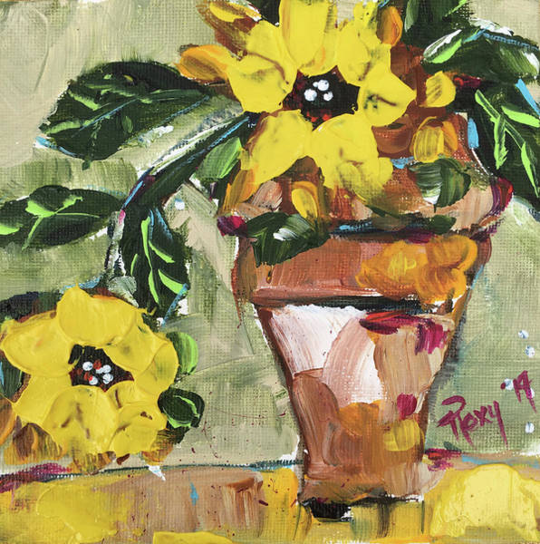 Wall Art - Painting - Bright Sunflowers In A Pot by Roxy Rich