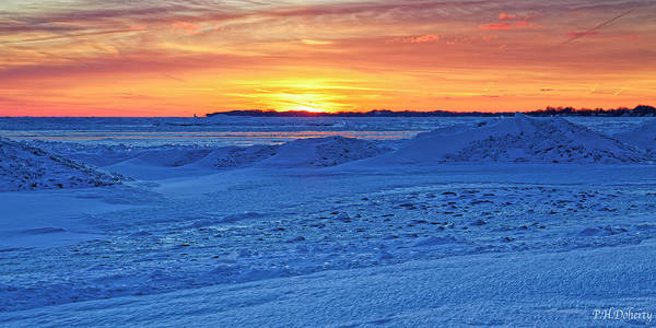 Great Lakes Region Wall Art - Photograph - Bright Sunset Over Frozen Waves by Phill Doherty
