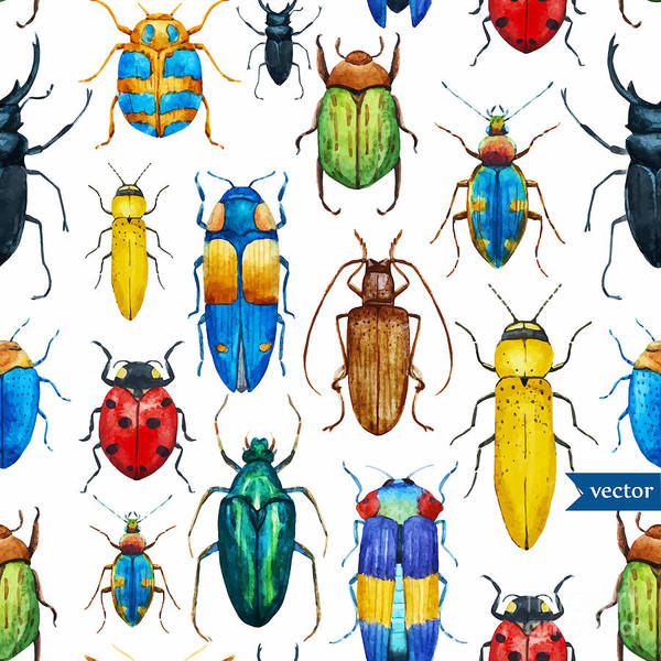 Wall Art - Digital Art - Bright Watercolor Seamless Pattern With by Anastasia Lembrik