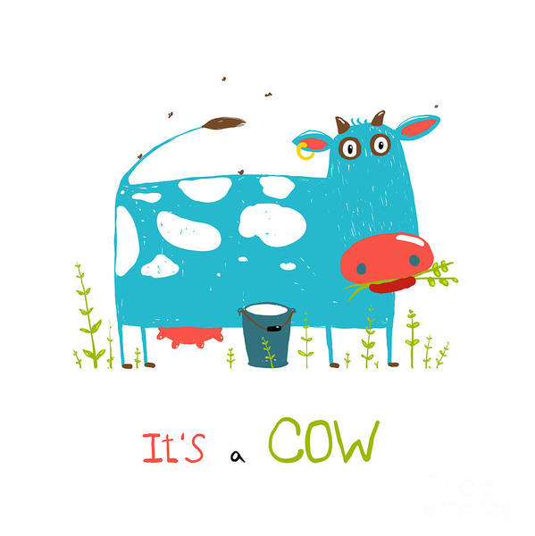 Wall Art - Digital Art - Brightly Colored Fun Cow And Milk For by Popmarleo
