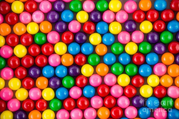 Wall Art - Photograph - Brightly Colored Gum Balls Laying Flat by Cohlmann