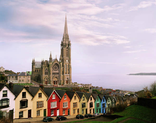 Christianity Photograph - Brightly Colored Houses With Cathedral by Connie Coleman