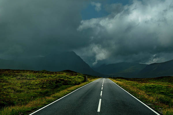 Moor Photograph - Brightly Marked Road Recedes Into Moody by Charles Bowman