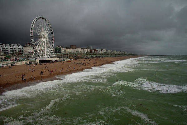Palace Pier Wall Art - Photograph - Brighton Beach On A Stormy Summer Day by Lucys28