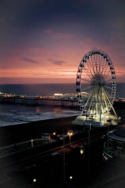 Palace Pier Wall Art - Photograph - Brighton Wheel And Palace Pier At Dusk by Photomadly