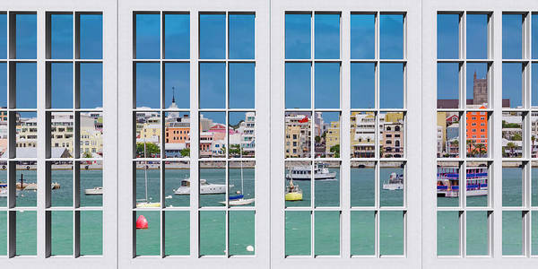 Framing Photograph - Brilliant Bermuda Cityscape Windows by Betsy Knapp