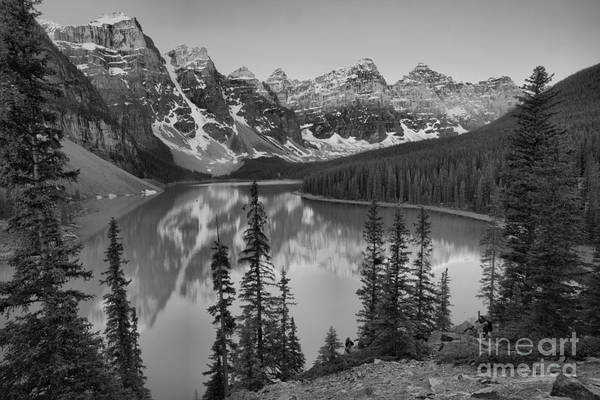 Photograph - Brilliant Moraine Lake Sunrise Reflections 2019 Black And White by Adam Jewell