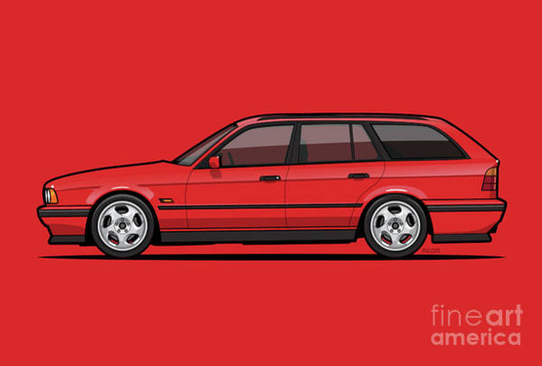 Wagon Digital Art - Brilliant Red Bavarian E34fuenfer Wagon Kombi by Monkey Crisis On Mars