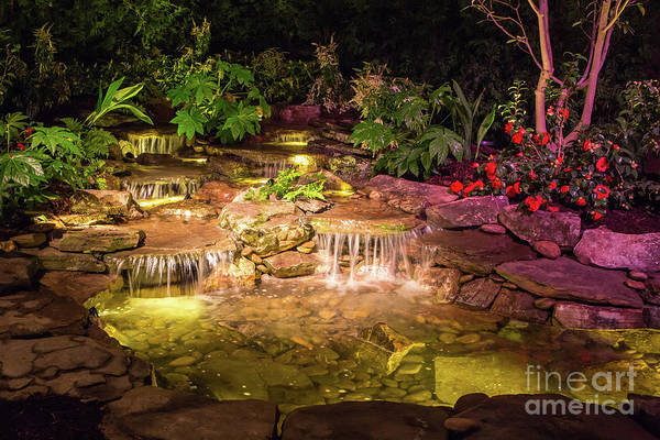 Photograph - Brilliantly Lit Waterfall At Night by Kevin McCarthy