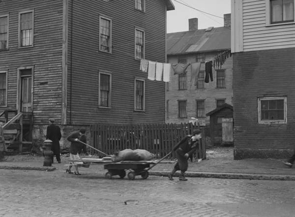 Bringing Home Some Salvaged Firewood In Slum Area In New Bedford  Massachusetts Art Print