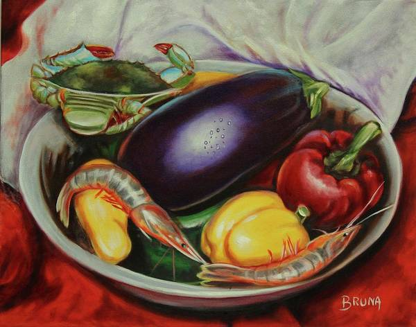 Wall Art - Painting - Brinjal And Blue Crab by Bruna CHRISTIAN