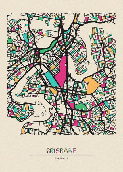 Wall Art - Drawing - Brisbane, Australia City Map by Inspirowl Design