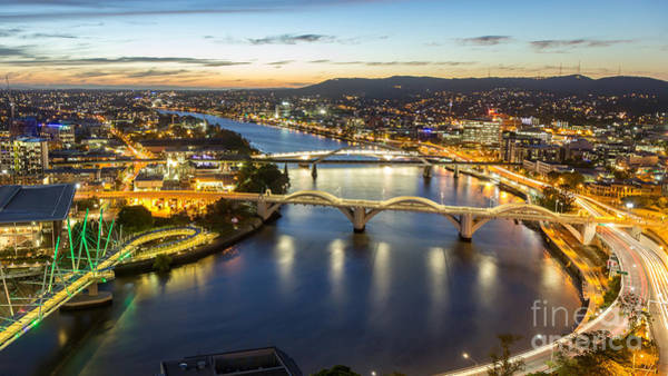 Wall Art - Photograph - Brisbane City, Panorama Aerial Sunset by Gnoparus