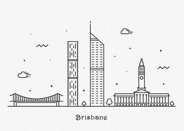 Landmark Center Drawing - Brisbane Cityscape Travel Poster by Inspirowl Design