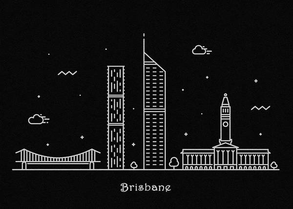Queensland Digital Art - Brisbane Skyline Travel Poster by Inspirowl Design
