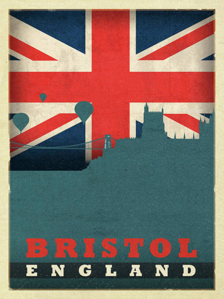 Wall Art - Mixed Media - Bristol England World City Flag Skyline by Design Turnpike