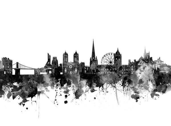 Bristol Wall Art - Digital Art - Bristol Skyline Bw by Bekim Art
