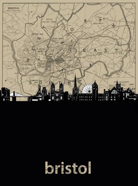 Bristol Wall Art - Digital Art - Bristol Skyline Map by Bekim Art