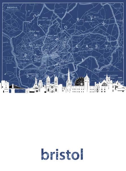 Bristol Wall Art - Digital Art - Bristol Skyline Map Blue by Bekim Art