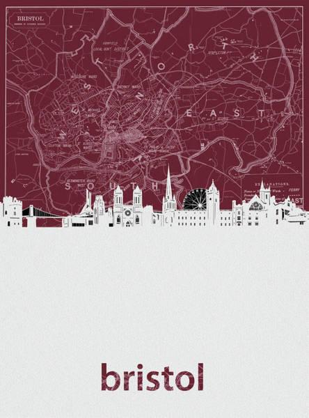 Bristol Wall Art - Digital Art - Bristol Skyline Map Red by Bekim Art