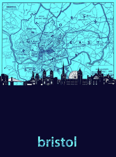 Bristol Wall Art - Digital Art - Bristol Skyline Map Turquoise by Bekim Art