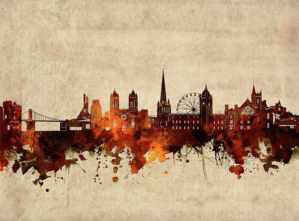 Wall Art - Digital Art - Bristol Skyline Sepia by Bekim M