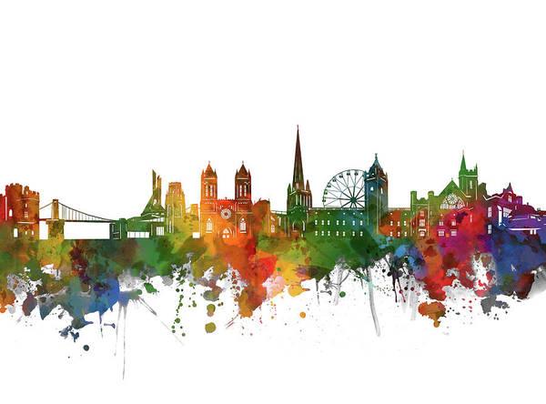 Bristol Wall Art - Digital Art - Bristol Skyline Watercolor 2 by Bekim Art