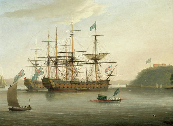 Wall Art - Painting - British Naval Ships Moored Off Mount Edgcumbe, Plymouth by Dominic Serres