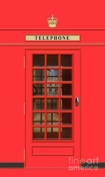 England Mixed Media - British Red Phone Box With The Tower Of London by John Edwards