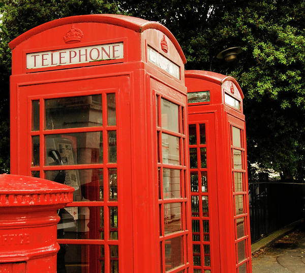 Mailbox Photograph - British Red Telephone Boxes And Post Box by Lyn Holly Coorg