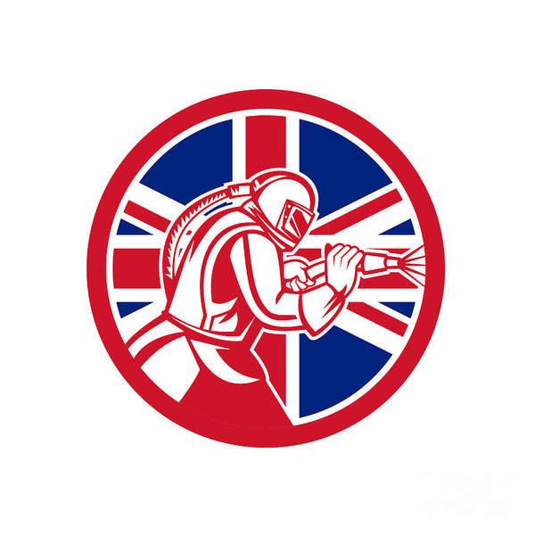 Wall Art - Digital Art - British Sandblaster Abrasive Blasting Union Jack Flag Circle by Aloysius Patrimonio