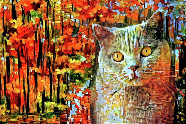 Digital Art - British Shorthair Cat In Autumn by Peggy Collins