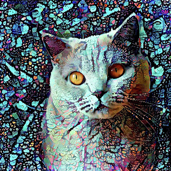 Digital Art - British Shorthair Cat In Blue by Peggy Collins