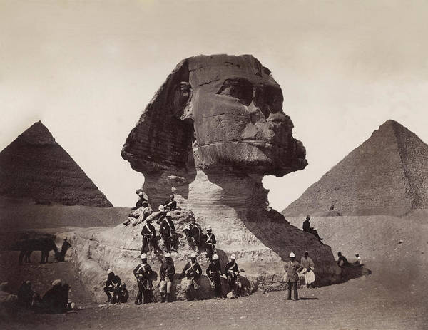 World Heritage Site Photograph - British Soldiers At The Sphinx by Bettmann