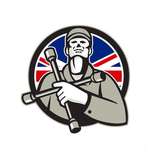 Wall Art - Digital Art - British Tyre Technician Lug Wrench Union Jack Flag Circle Icon by Aloysius Patrimonio