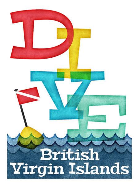 Virgin Digital Art - British Virgin Islands Dive - Colorful Scuba by Flo Karp