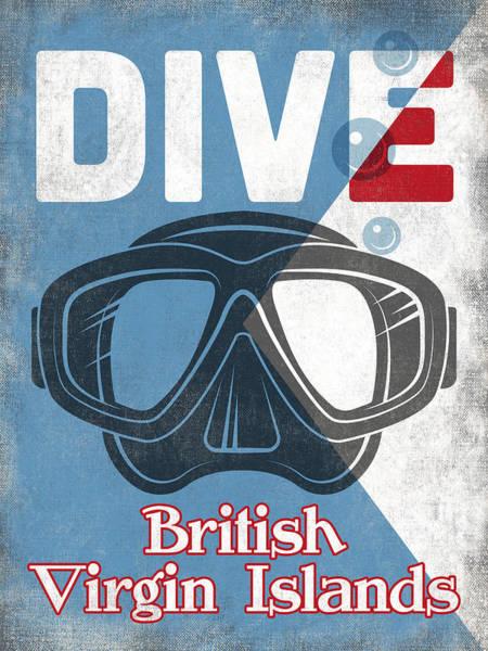 Virgin Digital Art - British Virgin Islands Vintage Scuba Diving Mask by Flo Karp