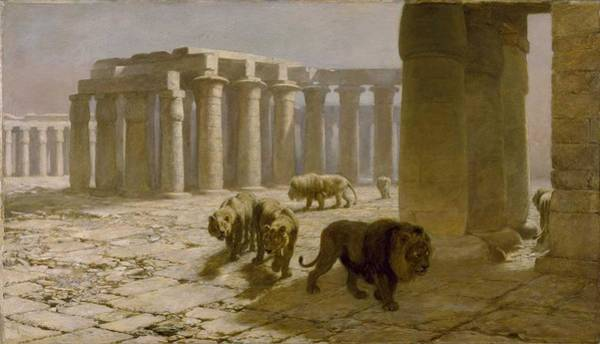 Wall Art - Painting - Briton Riviere  1840-1920  Syria, The Night Watch - 1880 by Celestial Images