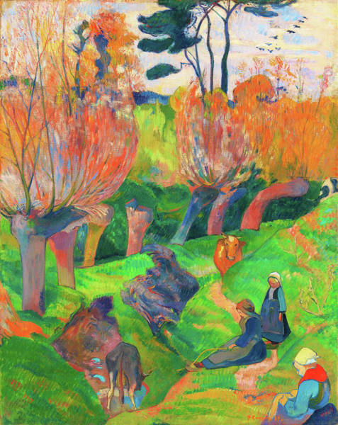 Wall Art - Painting - Brittany Landscape With Cows - Digital Remastered Edition by Paul Gauguin