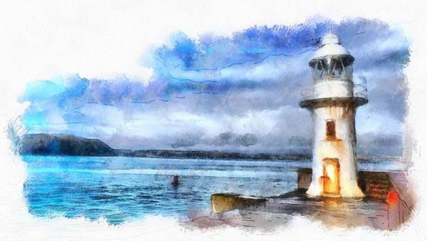 Painting - Brixham Lighthouse And Sea by Seascape Arts