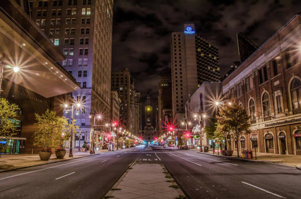 Photograph - Broad Street Philadelphia At Night by Bill Cannon