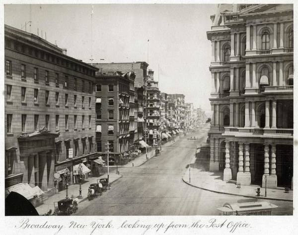 Manhattan Skyline Painting - Broadway New York Looking Up From The Post Office  Ca 1870 Albumen Print by Celestial Images